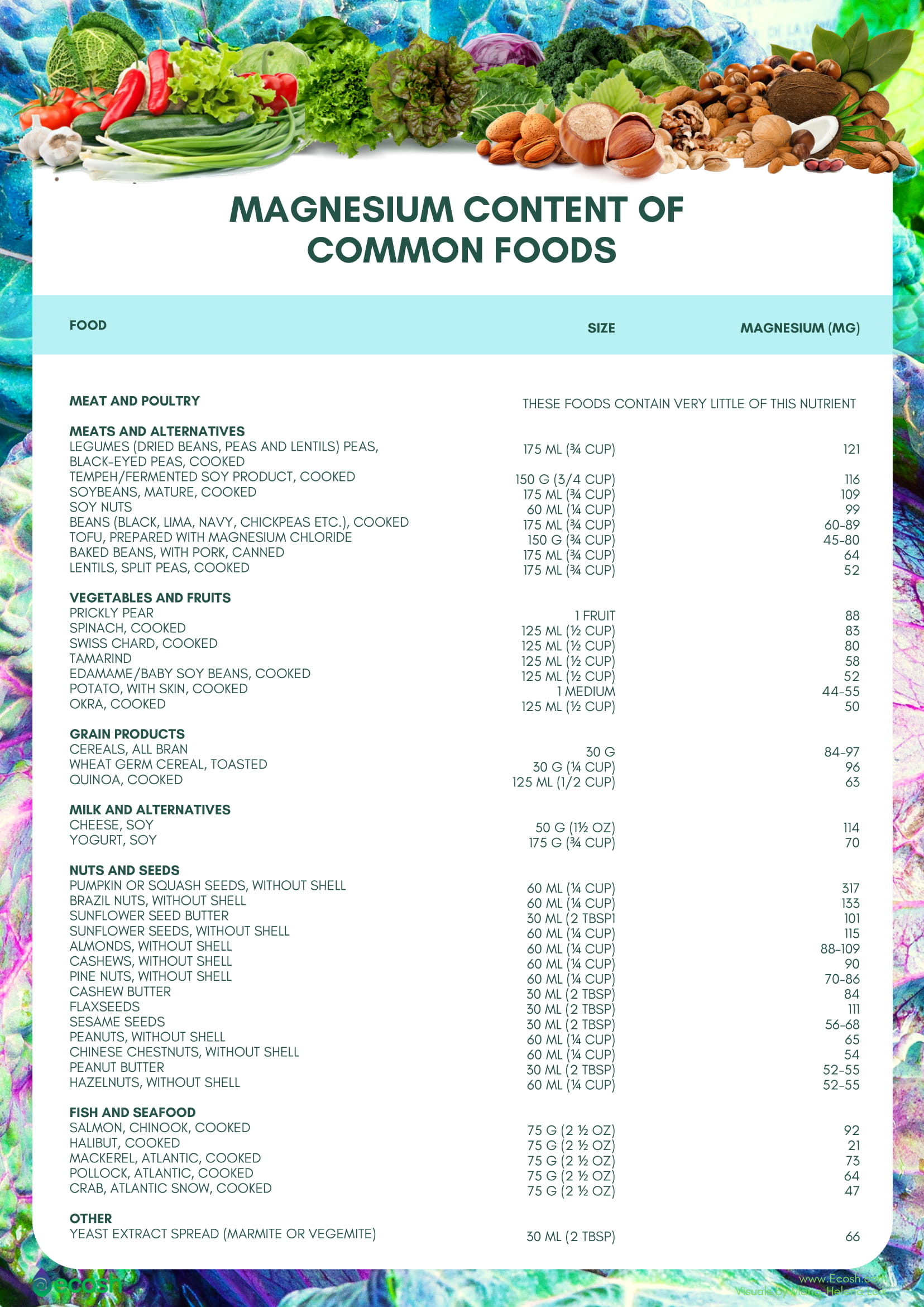Magnesium content of common foods