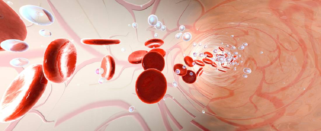 oxygen molecules in blood vessels